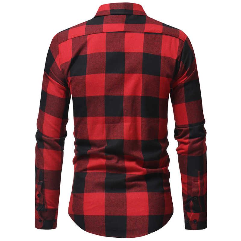 男性フランネルチェック柄シャツシュミーズオム 2018 春秋の新長袖男性シャツカジュアルドレスシャツでポケット