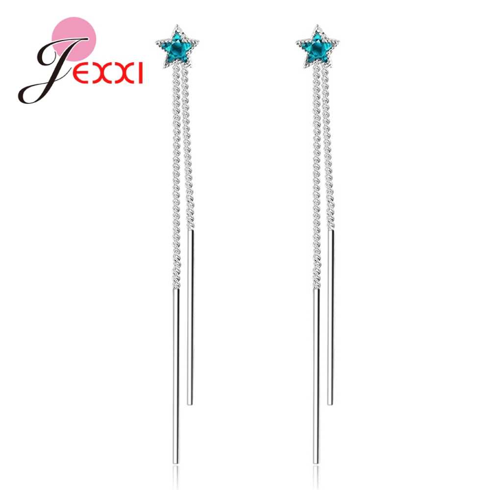 New Arrival Authentic 925 Sterling Silver Exquisite Blue Stars Long Thread Earrings for Women Girls Party Jewelry Bijoux