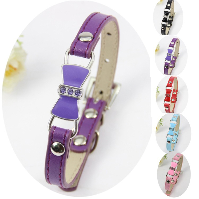 High Quality Bow PU Leather Dog Collar Cat Collar Adjustable Collar for Dogs Pets Small Pets Size S M L XL