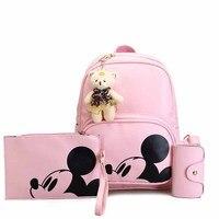 3Pcs Cute Mickey Women Backpack Composite High Quality Pu Leather Leisure Bag Girls Korea Style Mochila