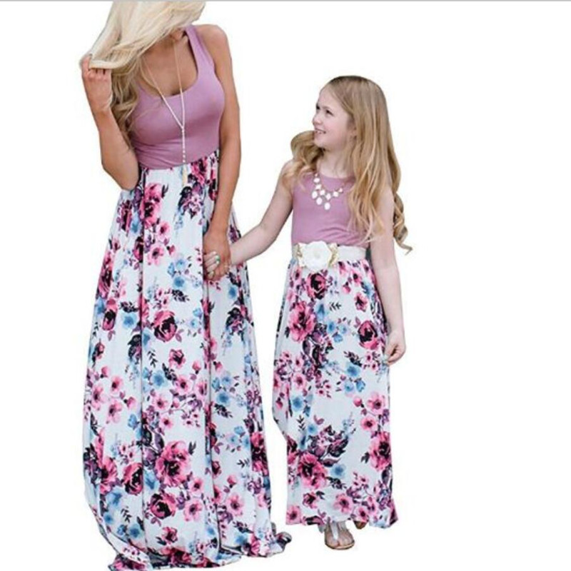 Family Matching Outfits Mother Daughter Sleeveless Dresses Fashion Clothing Mom Daughter Dress Bohemian Summer Style Girls Dress in Matching Family Outfits from Mother Kids