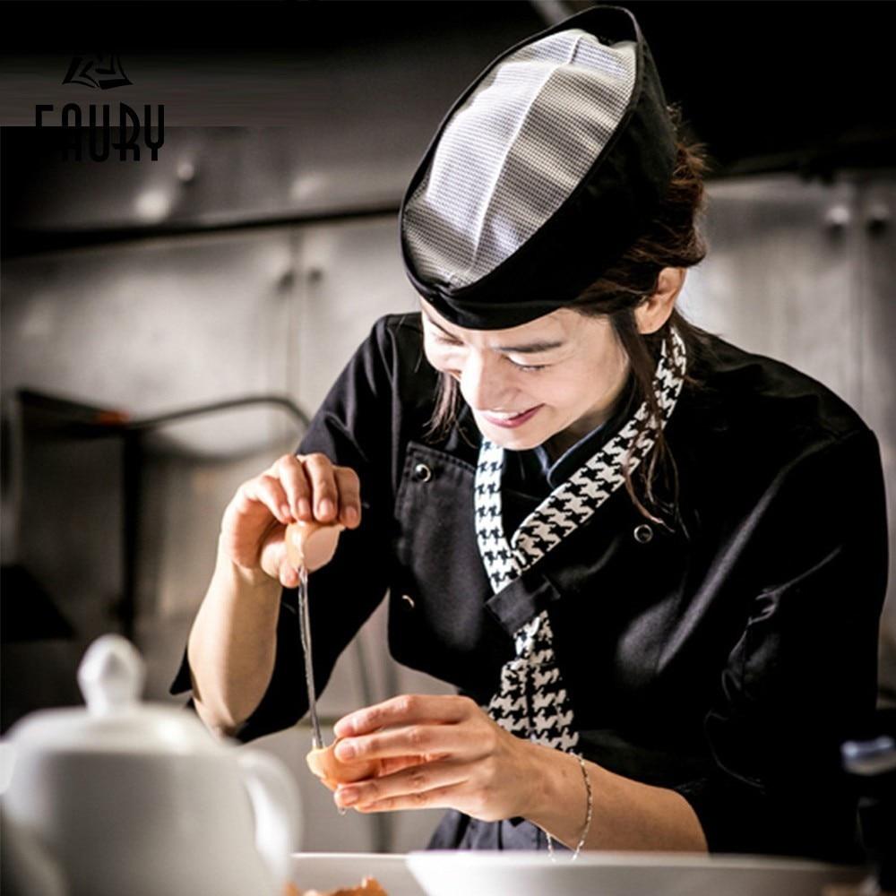 Chef Hat Kitchen Hotel Japanese Cuisine Work Cap Net Top Breathable Men Women Waiter Sushi Servante D'atelier Horeca Patisserie