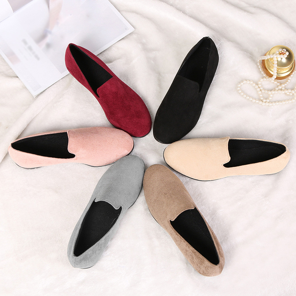 Simples e on Mujer b Loisirs Taille Nouvelle Plus c d Zapatos Rond Plates Bout De Bateau Muqgew Femmes Pois f Chaussures Femme 43 A ~ Slip 36 Suede PAanyUFqg