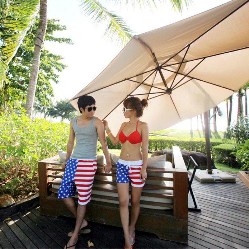 Lovers Swimwear Board Shorts Men Swimsuits Striped Quick-dry Bermuda Women Surf Shorts Swimming Beach Shorts