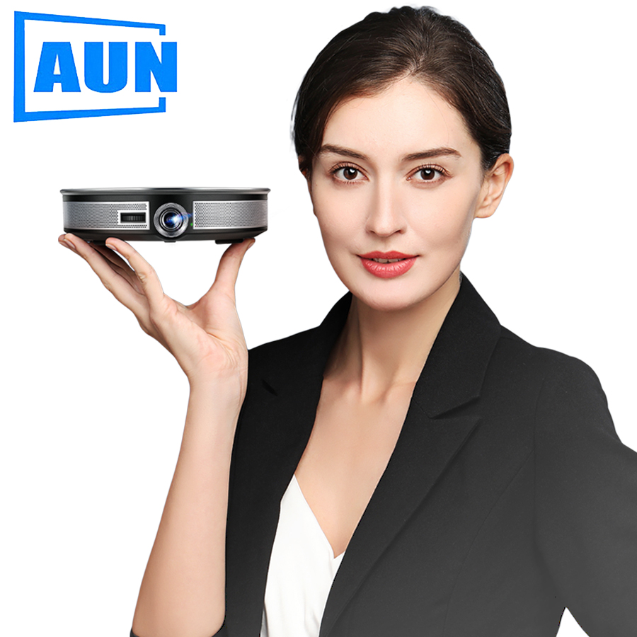 AUN MINI Projector D8S, 1280x720P, Android 6.0 (2G+16G) WIFI. 12000mAH Battery, Portable 3D beamer. Support 4K for home cinema(China)