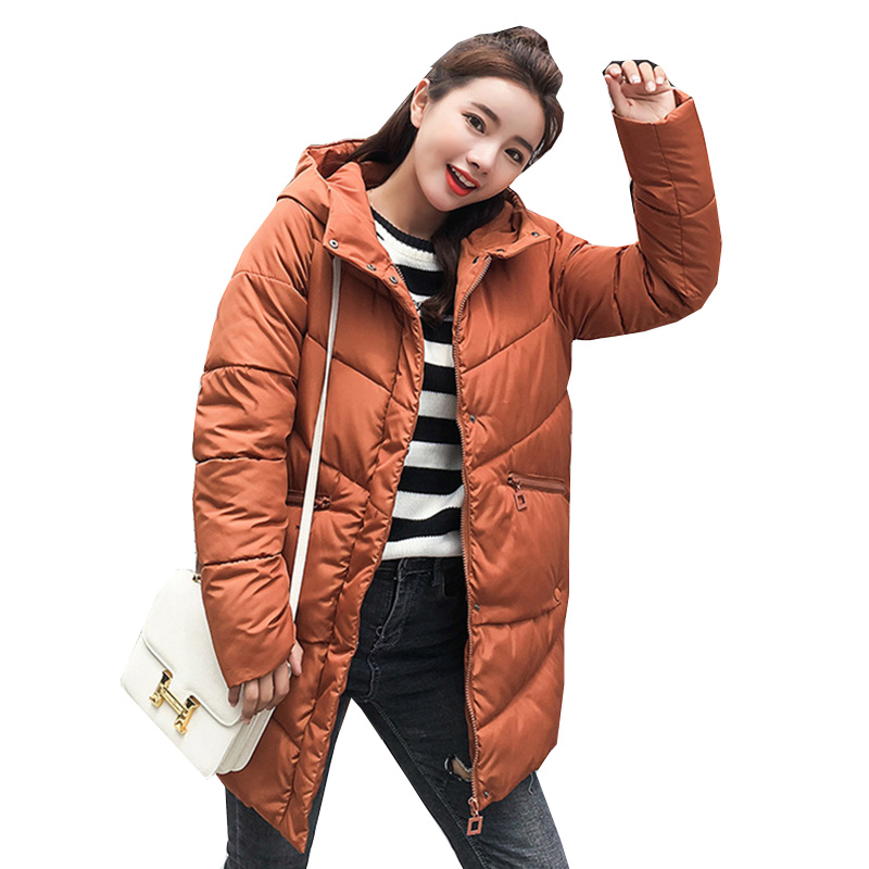 2018 New Winter Women Jacket Medium Long Hooded Loose Parkas Thick warm Large Duck Down Coat Female Snow Outerwear NW695