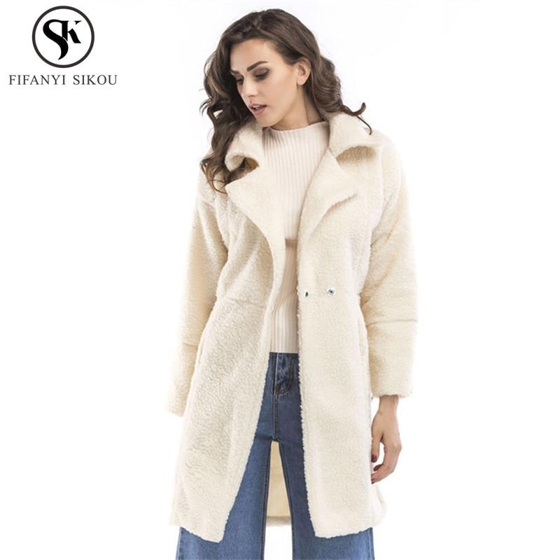 2018 Winter jacket women Fluffy Soft Faux Lambswool coat Single Button Coats Woman Plus size Overcoat Thick warm Outerwear LP387