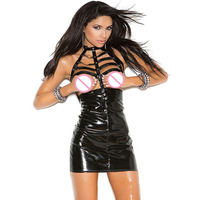 Sexy Wetlook PVC Cupless Bandage Wrapped Mini Dress Gothic Women S Vinyl Leather Halter Open Bust