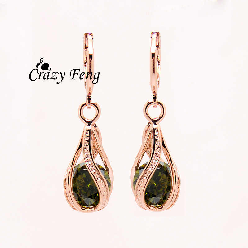 Luxury Brand-สีออสเตรีย Zircon หินสีม่วงคริสตัลน้ำ Drop Dangle ต่างหูสำหรับผู้หญิงงานแต่งงานของขวัญเครื่องประดับ