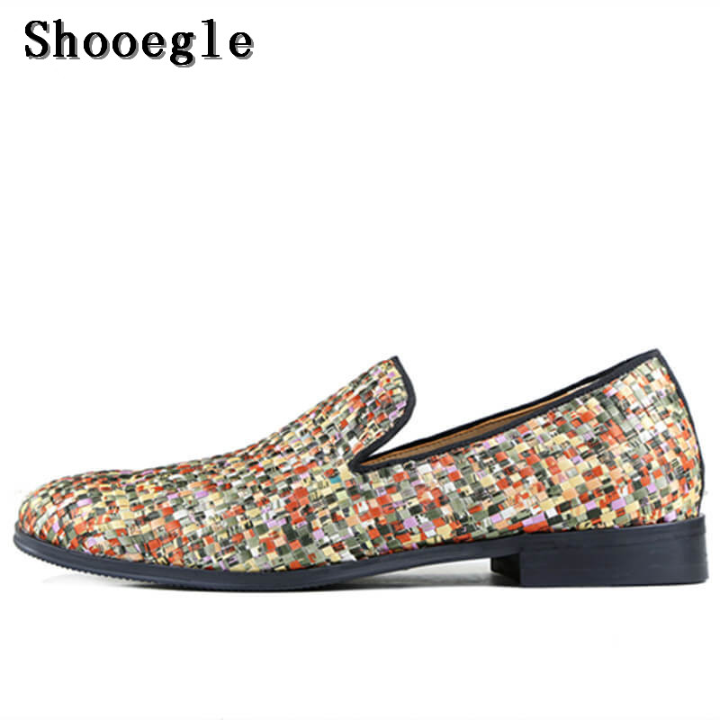 New Design SHOOEGLE Brand Factory Customized Men Smoking Loafers Shoes Colorful Flats Low Tops Slip On Causal Shoes Size 38-47