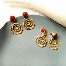 Retro geometric hollow-out decorative pattern flower girl earrings circle personality eardrop fashion female temperament