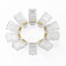 Conector de rede ethernet, 50 pçs/lote 8p8c rj45 RJ-45 módulo conector de rede para utp cat5 cat5e cabo de rede cristal conectores