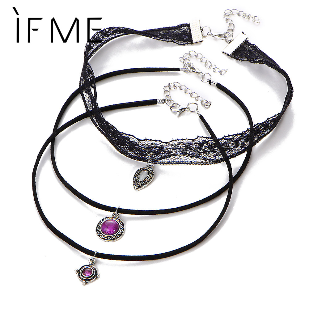 IF ME 3 Layer Steampunk Lace Choker Necklaces Sexy Pendent Vs