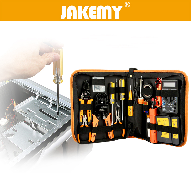 JAKEMY 17 in 1 Electronic Maintenance Tools Set Soldering Iron Metal Spudger Pliers Tweezers Digital Multimeter Repair Tools Kit assisted soldering tools sa 10 6pcs maintenance tools to disassemble and clean the board brush hook to push fork cones
