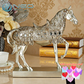 "NEO 28.8cm(11.3"") Height Silver Trotting Horse Statue Animal Sculpture Figurine Miniture Home Office Decoration Resin Crafts"
