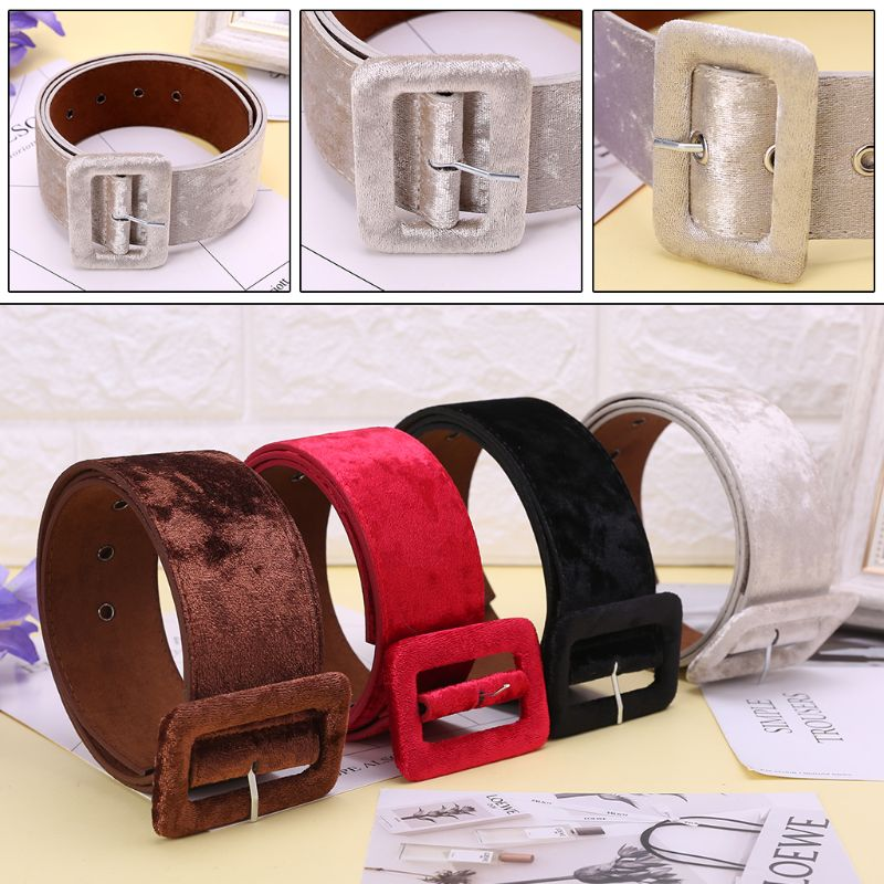 Hot New Design 1 Pc Women Lady Fashion Wide   Belt   Girls Female Dress Decorate Waistband Velvet   Belts   4 Colors High Quality