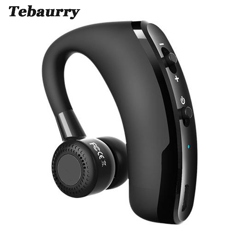 Tebaurry V9 Handsfree Business Bluetooth Headset With Mic Voice Control Wireless Bluetooth Earphone Headphone Sports for phone bq 618 wireless bluetooth v4 1 edr headset support handsfree earphone with intelligent voice navigation for cellphones tablet