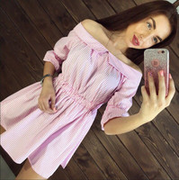2017 New Style Summer Women Pink Stitching Dress Off Shoulder Strapless Sexy Dress Slash Neck Mini