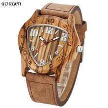 Design único triângulo de madeira dial relógios dos homens relógio de madeira de bordo de quartzo de madeira relógios masculinos de luxo famosa marca de relógio de pulso