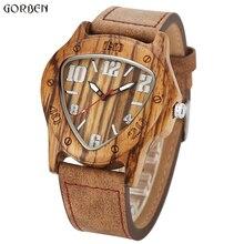 Unique Design Triangle Wooden Dial Watches Mens Clock Maple Wood Quartz Wooden Mens Watches Luxury Men Famous Brand Wristwatch