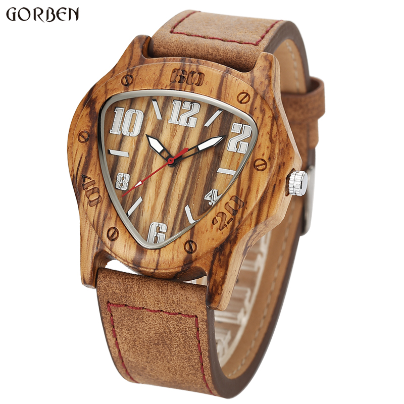 Unique Design Triangle Wooden Dial Watches Mens Zebra Maple Wood Quartz Wooden Men's Watches Luxury Men Famous Brand Wristwatch naturally retro style minimalism luxury simplicity walnut wooden watches men with wood bamboo straps famous brand mens watches