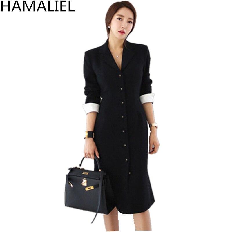 HAMALIEL Business femmes noir gaine bureau OL robe automne formel simple boutonnage manches longues moulante col cranté travail robe