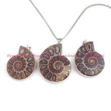 Beautiful Silver Plated Bordure Different Half Natural Ammonite Conch Fossil Pendant Charm Amulet European Retro Jewelry 10 pcs