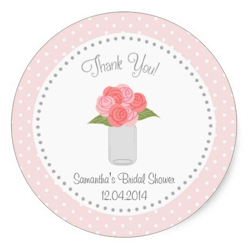 38cm mason jar flower bridal shower sticker polka dot