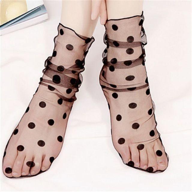 Женская мода рюшами ажурные лодыжки носки для девочек прозрачный Высокое качество леди сетки кружево рыбка короткие носки