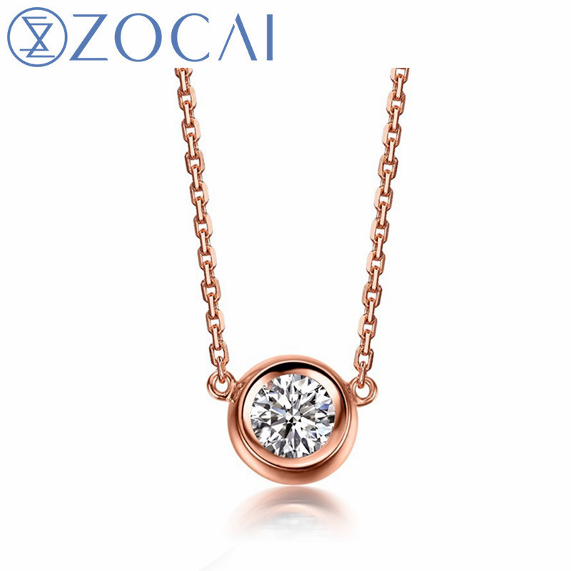 ZOCAI Brand Necklace 18K gold 0.14 ct round cut diamond necklace round shape 18K rose gold / white gold /yellow gold available цены