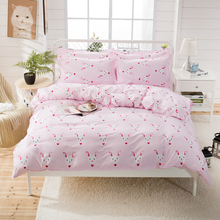 Princess Pink 4PCS Bedding Set Cartoon Rabbit Print for Kids Duvet Cover With Pillowcases Girls Single Bed Home Textiles
