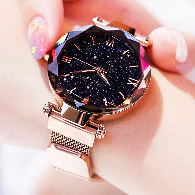 Women's Creative Fashion Starry Sky Watches Magnet Buckle Mesh Belt Diamond Quartz Watch Women Dress Clock Relogio Feminino
