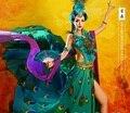 QueWu Exótico Estilo Clásico Paillette Traje de la Danza Del Pavo Real de Hadas y Pluma Danza Hanfu Cosplay Traje de la Etapa Rendimiento