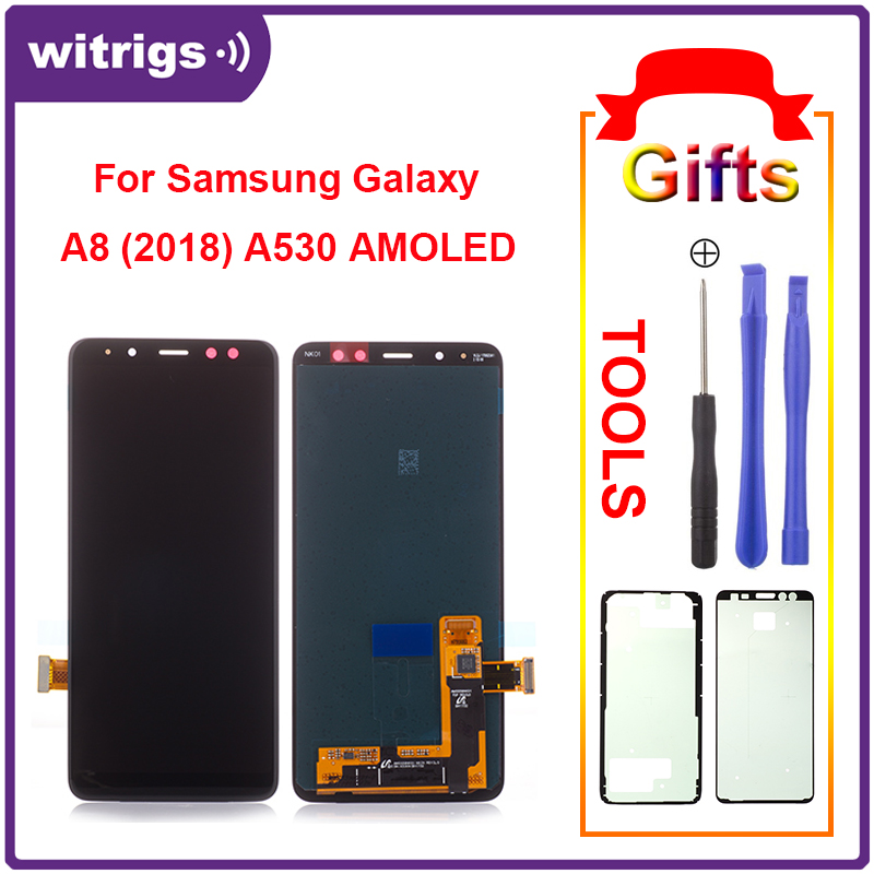 Witrigs for Samsung Galaxy A8 2018 LCD Display Touch Super AMOLED Screen Digitizer Assembly Replacement Part A530F Panel