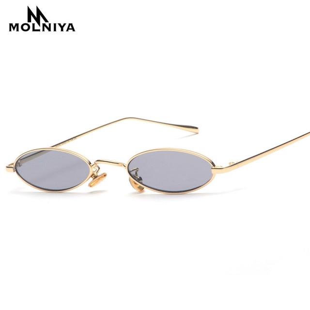 4553aeae8 MOLNIYA 2019 Pequeno Oval Óculos De Sol Para Homens Masculino Armação De  Metal Retro Amarelo Vermelho