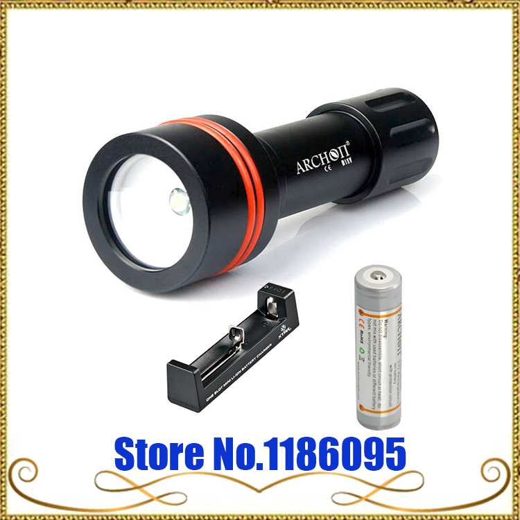 ФОТО ARCHON D11V Underwater Led Diving Light W17V 3-mode 100M Flashight Cree XM-L 860 Lumens+1x18650 2600mah battery+charger