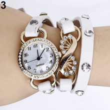 Hot Sales Popular Women's Girl's Trendy Rhinestone watches Leather Band Quartz Bracelet Wrist Watch NO181 5V1P