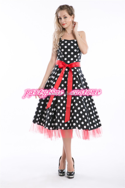 9e1dae5163f dropshipper plus size dress 50s style pin up dress retro clothes polka dots  black white cotton fabric womens sexy party fast 6XL