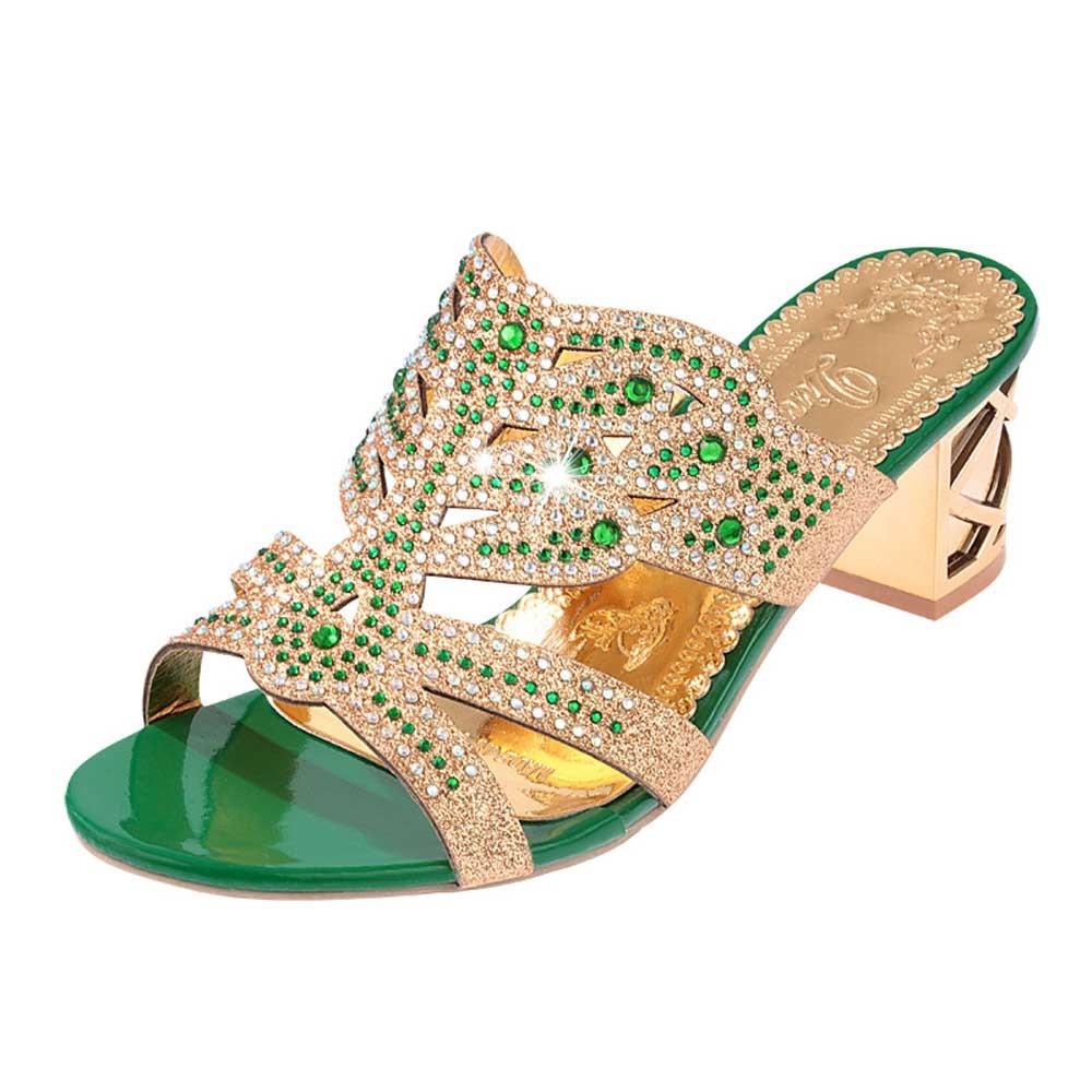 HTB1m7C0sf5TBuNjSspcq6znGFXaB SAGACE 2018 Summer Open Toe Chunky Heels Women Sandals Leather Rhinestones Party Shoes Girls Crystals Casual Beach Flip Flops