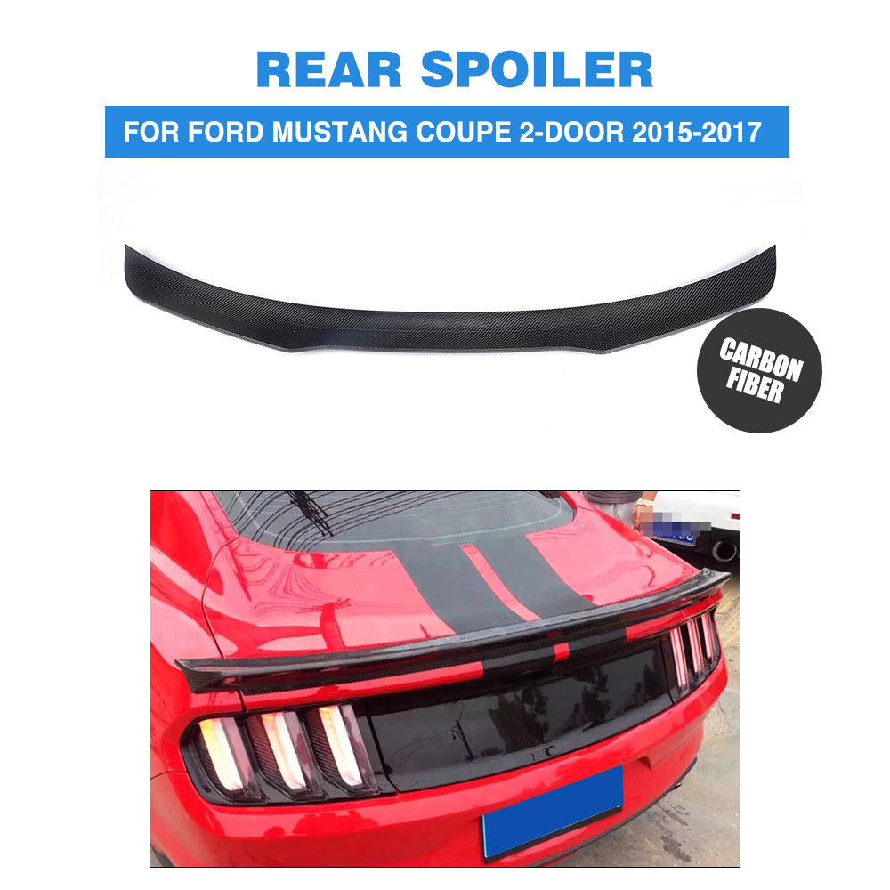 Carbon Fiber Glossy Black Rear Wing Spoiler for Ford Mustang GT Coupe 2015 2016 2017 Rear trunk boot spoiler Car tuning parts body kits front bumper parts rear diffuser car accessories for ford mustang coupe 2015 2017