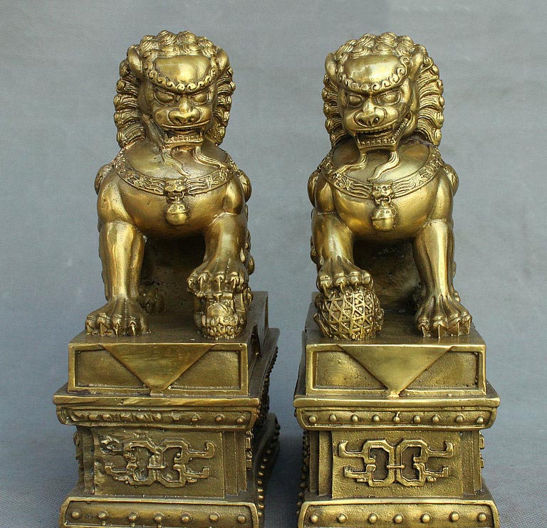 8 Chinese Folk FengShui Brass Guardian Door BeiJing Fu Foo Dog Lion Statue Pair