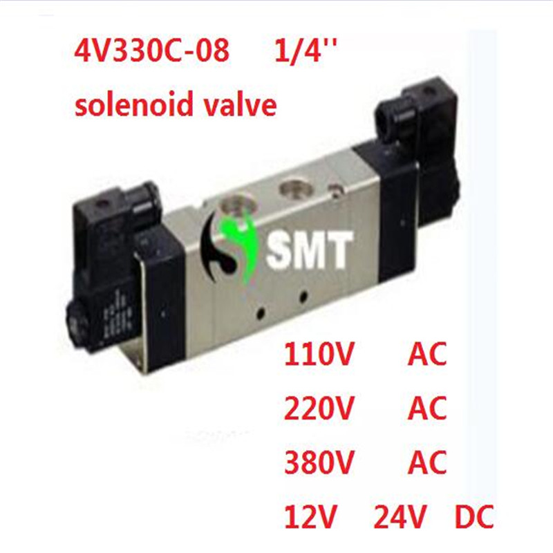 ФОТО Free shipping air solenoid valve 4V330C-08 Double coil Port 1/4