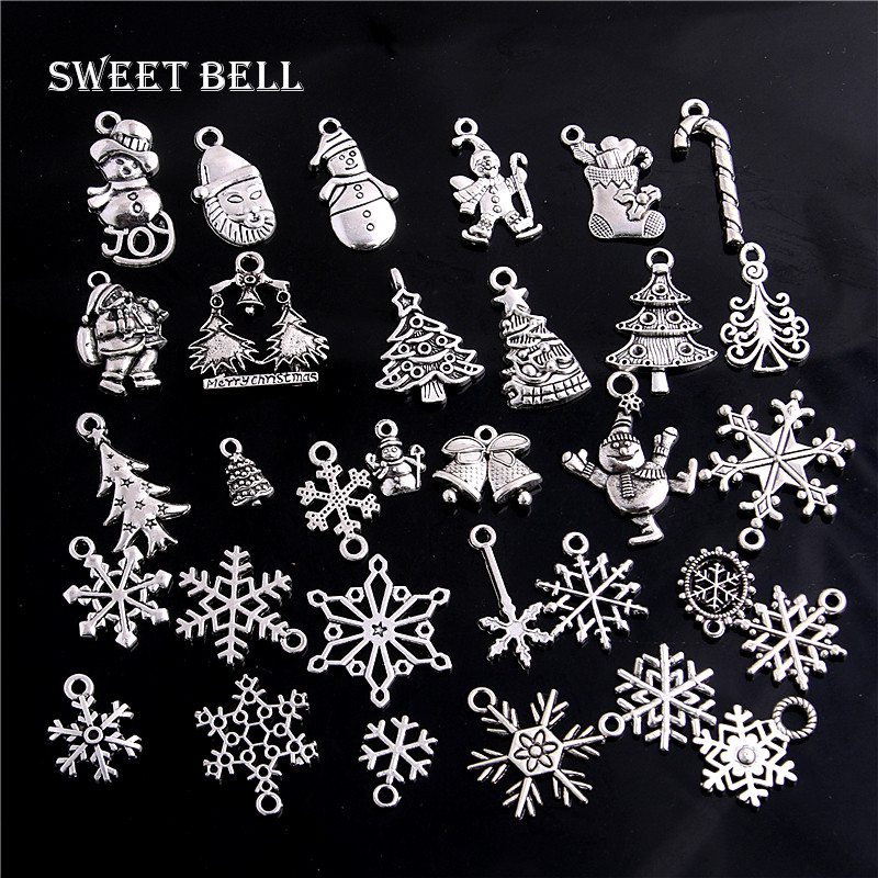 Christmas-Charm Pendant Charms Jewelry Sweet Bell Metal Vintage Crafts Handmade 100pc