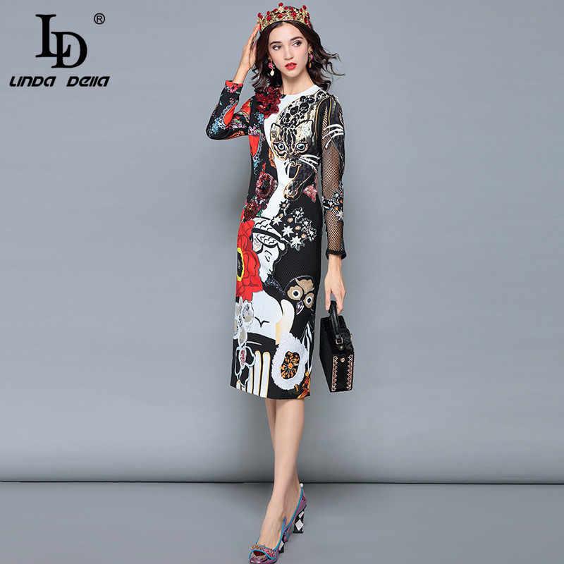 Женское платье с цветком и кошкой LD LINDA DELLA, осеннее черное платье с аппликациями, платье средней длины с принтом