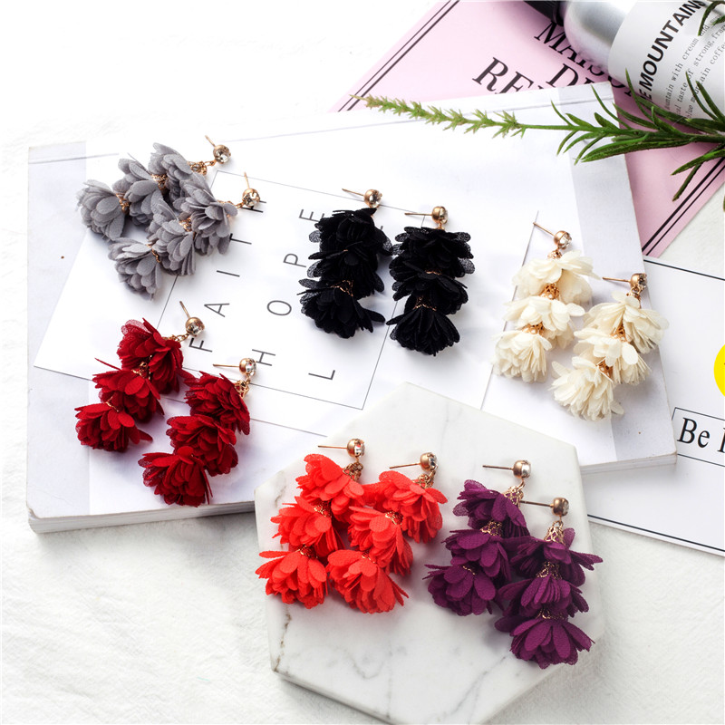 Drop earrings for women Charm Ethnic Colorful Flower Multilayer petal Colorful Long tassel earrings Ethnic earrings for women