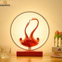 Luz de mesa LED roja moderna de hierro  Cisne Nórdico de resina  regalo de matrimonio  lámpara de mesa Princesa  lámpara de noche para dormitorio  accesorios de iluminación deco|Lámparas de mesa LED| |  -