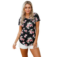 Product Summer New V Lead Short Sleeve Flowers And Plants Printing Leisure Time Directly Canister T