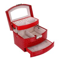 GENBOLI Red 3 Layers Jewelry Display Box Ring Necklace Jewelry Carrying Case Crocodile Print Storage Makeup
