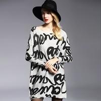 Women's Dress Fashion Autumn Winter Wool Dresses Casual Oversized Knitwear Pullovers Long Sleeves Print Sweaters Big Size 6113