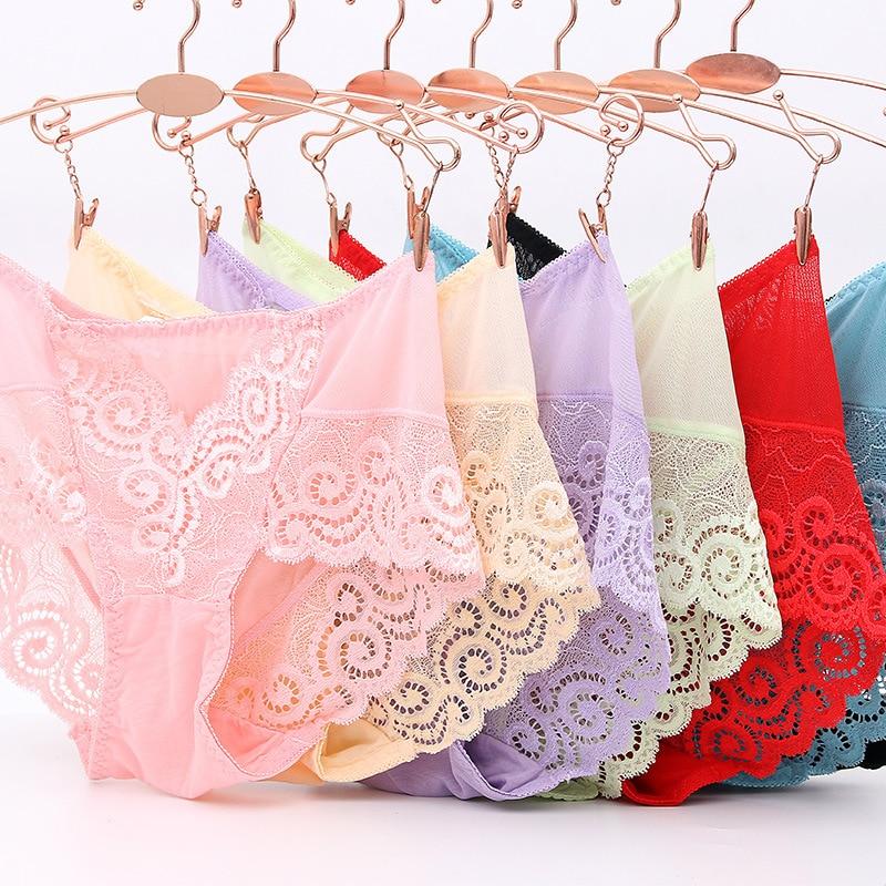Women's Panties Seamless Sexy Lace Underwear Briefs Plus Size Panties Ladies Breathable Transparent Lingerie Dropshipping 2019